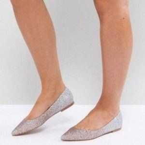 ASOS Ballet Flats Ombre Latch Glitter Pointed Toe